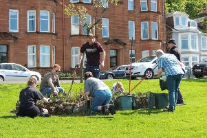 The group of volunteers who make up the 'Incredible Edible Bute' group, working hard at Battery Place.