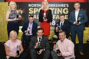 North Lanarkshire Sporting Hall of Fame class of 2008 - (back row, l-r) Kirsten Bonar, Michael Kerr, Margaret Ann Fleming, Scott Meenagh, James Stewart, (front row, l-r) Pauline Hamill, Jimmy Quinn (represented by Tosh McKinlay), Pat Clinton
