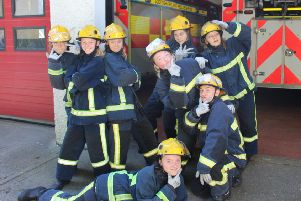 Pupils from Rothesay Academy taking part in the Scottish Fire and Rescue Service's Fire Reach Training Scheme.