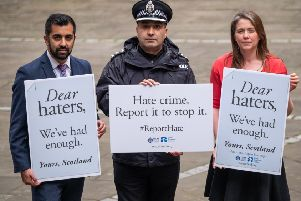 Cabinet Secretary for Communities and Local Government, Aileen Campbell, the Cabinet Secretary for Justice, Humza Yousaf and Chief Inspector Shaheen Baber from Police Scotland at the Writer's Museum in Edinburgh, to launch a new campaign spelling out the importance of reporting hate crime.