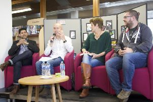 One of the Bute Noir 2018 events, with Abir Mukherjee, Chris Brookmyre, Helen Fitzgerald and Luca Veste discussing what to put in Room 101.