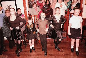 The Downes School of Irish Dancing performing an exhibition dance to a packed Galatea Bar in Rothesay on St Patrick's Day. Photo by Iain Cochrane.