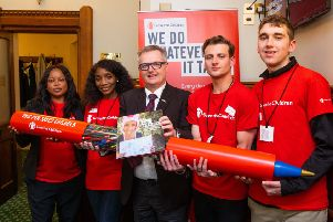 Brendan O'Hara MP for Argyll and Bute with Save the Children supporters Gift Odokor, Patience Ambe Nsameji, Tim Humphreys and Alfie Blake.