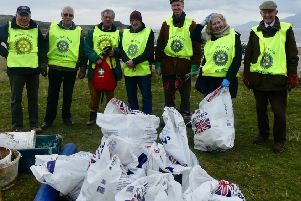 Members of Rotary Club of Rothesay  at Stravannan Beach.