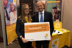 Donald Cameron MSP with Susan Brown from Marie Curie.
