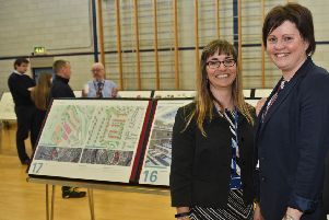 Plans for a new campus in Jedburgh with the two primaries and the grammar school being housed under one roof. L-r, Headteacher of Jed Grammar Susan Oliver, Claire Turnbull (headteacher of Parkside and Ancrum schools) and Donna Mason (director of children and young peolpe's services) with the plans on show.