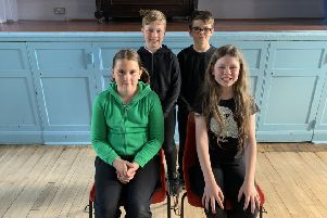 Front row, from left, Katelyn McKell and attendant Roxanne Gubby, and, back row, from left, Zane Adamson and attendant Nat Bond.