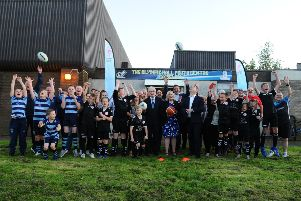 Sportscotland chairperson, Mel Young; Falkirk Council leader Cecil Meiklejohn; UK Goverenment Minister for Sport, Nigel Adams and Falkirk Community Trust chief executive, Maureen Campbell with the Hub groups and clubs. Picture: Michael Gillen.