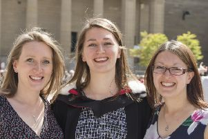 Kirsty Brown (centre) flanked by her two other sisters.