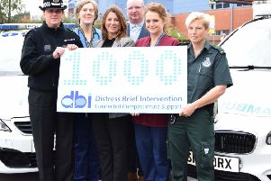 (l-r) Julie Robertson; Lorna Bruce, NHS Lanarkshire senior nurse mental health and learning disabilities; Lise Axford; Tracey Lochrie, Scottish Ambulance Service paramedic. Joined by Anne Tweed; and Sean O'Rawe; both from Lanarkshire Association for Mental Health