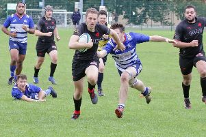 Ross Bradford scores a try for Biggar Rugby Club against Howe of Fife on Saturday (Pic by Nigel Pacey)