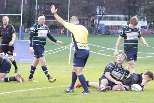 Biggars Rowan Stewart started and finished the days scoring to the bewilderment of the GHK players as the ref signals a try and full-time (Pic by Nigel Pacey)