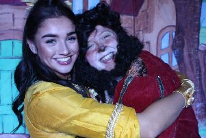 Beauty and her Beastie at New Lanark's Festive Panto.