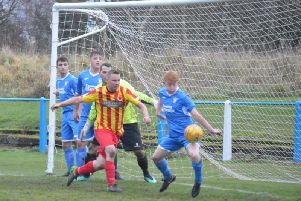 The handball by Lanark's Martin Smith which earned Rossvale their penalty (Pic courtesy of HT Photography/@dibsy_)