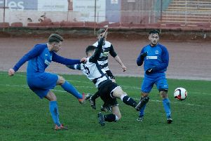 Craig Grierson scores the winner for Carluke Rovers at Ashfield (Pic by Kevin Ramage)