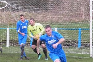 Lanarks Lewis Hill (1st left) scored from the spot three times to give the League Two leaders a shock 3-2 home victory over Championship outfit Kilsyth Rangers (Library pic)