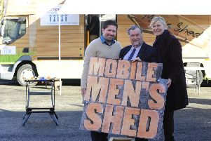 Mobile movement...Paul Creechan and Christine Calder of Seniors Together and Councillor Jim McGuigan (centre) are delighted the unit has been such a hit.