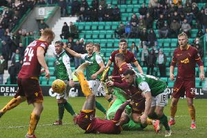 Motherwell couldn't find a way past the Hibs defence at Easter Road (pic by Ian McFadyen)