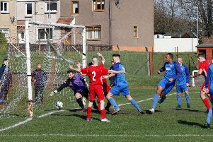 Carluke Rovers Dominic Chiedu scores in the 8-0 rout of Ardeer Thistle (Pic by Kevin Ramage)