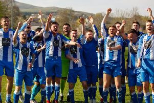 Penicuik Athletic V Musselburgh Athletic Conference A 20/04/19 Penicuik celebrate winning East Of Scotland Conference A