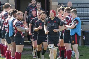 Preston Lodge players applaud champions Biggar Rugby Club onto park before start of Saturdays match (Pic by Nigel Pacey)