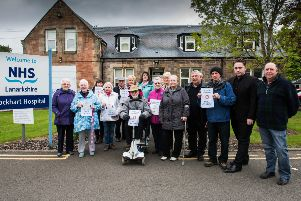 Protesters outside Lockhart Hospital in Lanark when it was theatened by closure in 2016. Picture Sarah Peters.