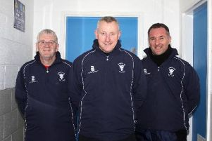 From left: Craig Martin, Lanark United manager Colin Slater, Spike McNeish