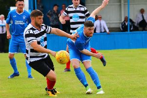 Lanark United ace Hugh Kerr in action against Ardrossan Winton Rovers on Saturday (Pic by Billy Quigley)