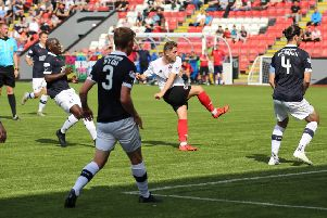 Mark Lamont scores Clyde's winner against Falkirk (pic by Craig Black Photography)