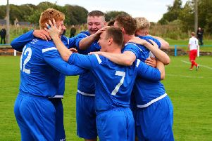 Lanark United players celebrate scoring during Saturdays emphatic 4-1 success over Girvan (Pic by George Reid)