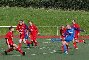 Conor McDonald nets a brilliant winner for Carluke (Pic by Kevin Ramage)