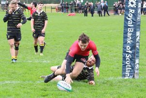Rowan Stewart touches down for Biggars bonus point try against Melrose on Saturday (Pic by Nigel Pacey)
