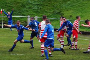 Lanark United players celebrate after Jordan Frasers late equaliser at Lesmahagow (Pic by George Reid)
