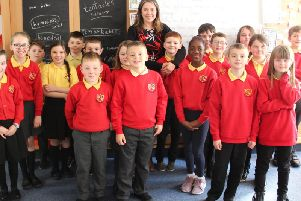 Aileen Campbell MSP is pictured with the pupils of Douglas Primary.