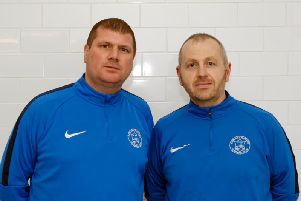 Mark Weir (left), pictured with his Rovers assistant Kenny Neil, doesn't think last Saturday's home game against Port Glasgow should have gone ahead