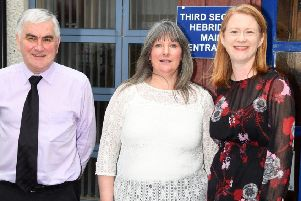 Pictured in Stornoway following the announcement are Social Security Secretary Shirley-Anne Somerville (far right) with Donny Macdonald of Third Sector Hebrides and Joan Muir, Local Delivery Lead of Social Security Scotland.