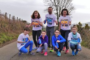 Balfron 10K committee members Julie Ross, Ben Mathieson and Olivia Spencer, with front, Alexander and Olivia Mathieson and Laurie and Lily-Belle Mohaupt