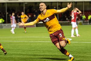 Tom Aldred celebrates scoring one of his two goals in the 2-1 win on Motherwell's last visit to the Hope CBD Stadium in December.