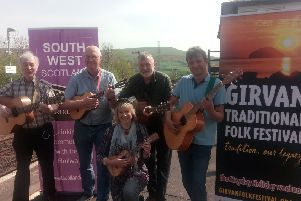 Pictured left to right at Girvan station are Pat Lappin, Stevie Neil, Anne Hogg, John Geller and Robert Charlton.