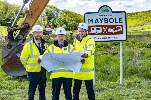 Maybole By-pass'L/R John Stephens (Wills project contractor),Minister for Transport Michael Matheson MSP, and Gavin Dyet (project manager Transport Scotland) at the start of work on the new by -pass'. Photo by Peter Devlin