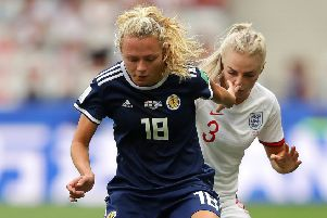NICE, FRANCE - JUNE 09: Alex Greenwood of England battles for possession with Claire Emslie of Scotland during the 2019 FIFA Women's World Cup France group D match between England and Scotland at Stade de Nice on June 09, 2019 in Nice, France. (Photo by Richard Heathcote/Getty Images)