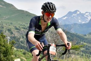 Martin Moench on the mighty Alpe d' Huez.