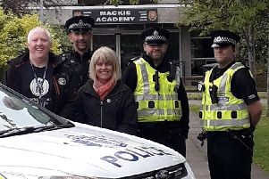 Sgt Chris Smith, Louise Moir, Special Constables Steve Ferguson and Neil Duncan, and PC Ian Duncan from Stonehaven CPT.