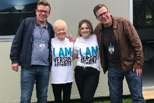 Liz and Caitlin Brodie with The Proclaimers on their visit to Melrose.