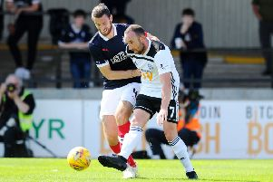 20-07-2019. Picture Michael Gillen. AYR. Somerset Park. Ayr Utd v Falkirk FC. The Scottish League Cup, SPFL Betfred Cup 2019 - 2020, Group G. Gregor Buchanan 4 and Michael Moffat 7.