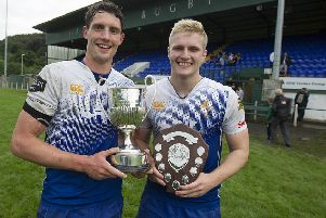 Jed-Forest captain Gregor Young, left, and player of the tournament Robbie Yourston.