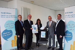 L-R: Thomas Glen, Vaughan Moody,  Ann Davie,  Andrew Polson, and Gerry Cornes,from the council.