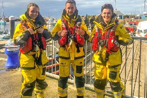 Chloe White, Fraser Stirling and Luciana McGarvie, from Girvan, attended the Crew Emergency Procedures training course at the RNLI College in Poole, Dorset. (Photo: RNLI/Craig Sommerville)