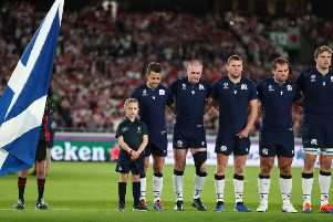 Beth was chosen to be the  Official Mascot for Scotland.'' (Photo by Clive Rose - World Rugby/World Rugby via Getty Images)