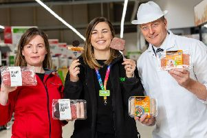 Carlyn Paton, director of We hae meat, Heather Turnbull, Asdas regional buying manager for Scotland and Simon Howie. Picture: Ian Georgeson
